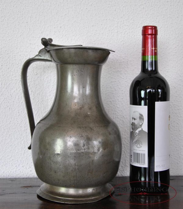 Pewter French flagon with bottle