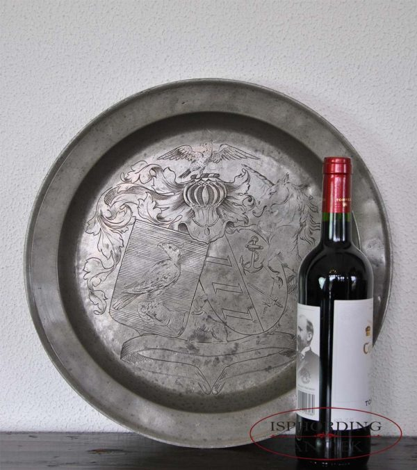 Pewter plate with bottle