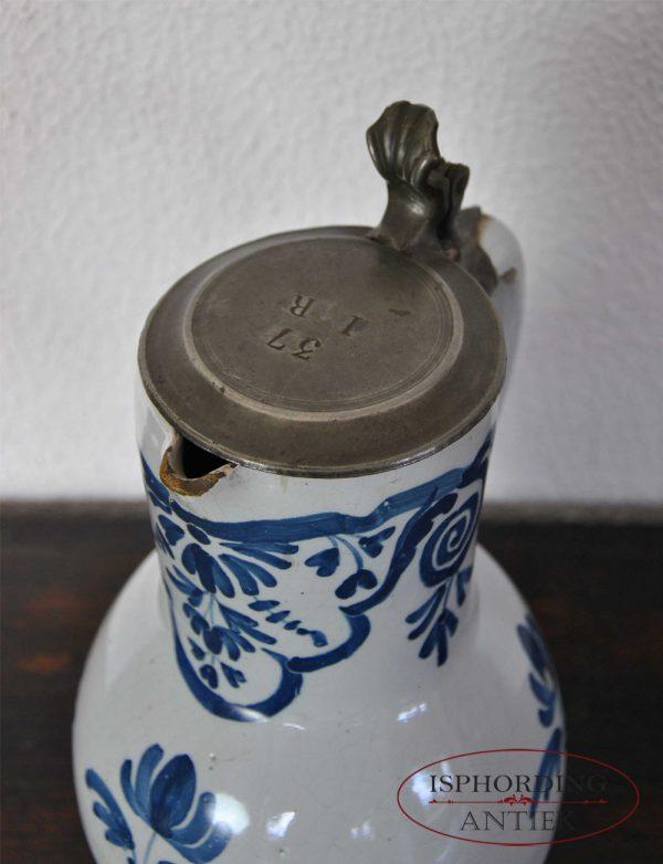 Stoneware Brussels jug pewter lid
